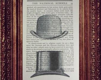 SALE! Dapper Top Hat Dictionary Page Art