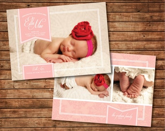 "Printable Baby Announcement: Baby Girl Double-Sided Photo Card ""Banner"""
