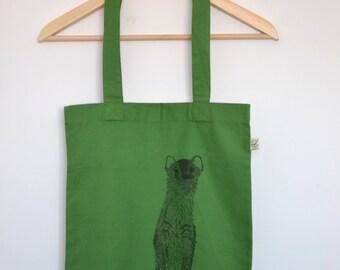 Green cotton tote bag - ecofriendly tote bag - organic cotton tote bag -  organic bag with weasel illustration print