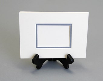 ACEO Mat Double mat for aceo fits  5 x 7 frame in off white with Grey inset, kit with acid free foam core and 2 clear sleeves