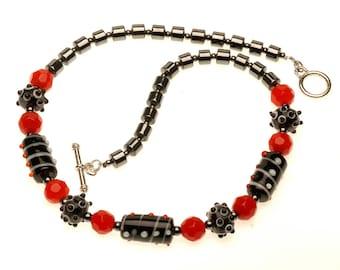 Orange and Black Necklace Multicolor Necklace Ceramic Beads Necklace Fun Necklace