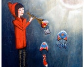 """Whimsical Art Print 200gsm+ Original Painting - """"Lost"""" Girl with Red Coat, Moon, Trumpet, Parachute, Elephant, Fox and Rhino A4 & A3"""