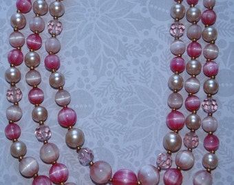 Necklace - Signed Lisner, 3 Strand Vintage Necklace, Pretty In Pink, Various Shades of Pink Beads, faceted crystal
