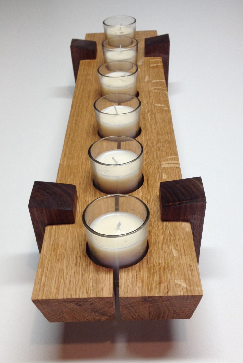 Wooden candle holder table center piece dimensions x