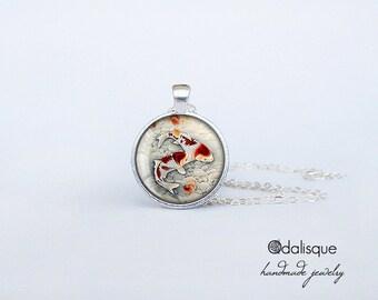 Koi Fish Pendant Japanese Carp Necklace Asian Art Jewelry Birthday Gift Round Glass Carp Pendant cs58