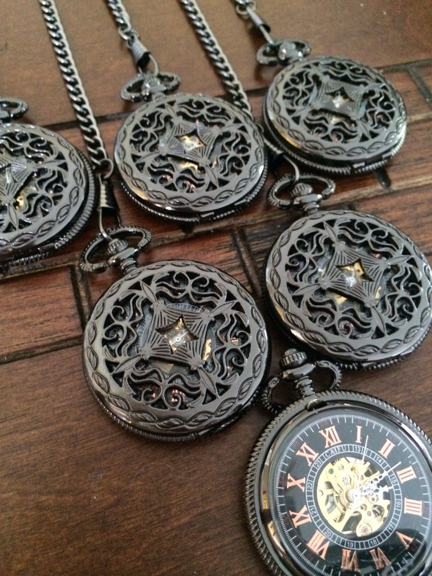 set of 6 custom engraved pocket watches by