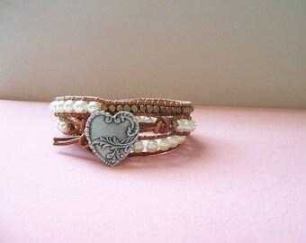 Silver Heart and Swarovski Pearl Triple Wrap Leather Bracelet