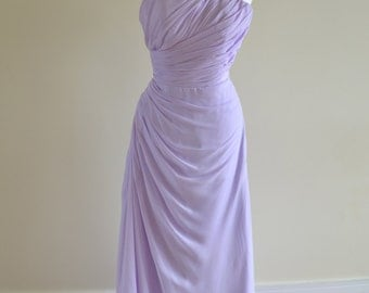 Custom made 'Angeline' one shoulder chiffon sweetheart bridesmaid prom evening gown backless dress