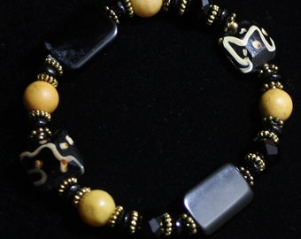 Onyx and Lampwork Glass Bracelet