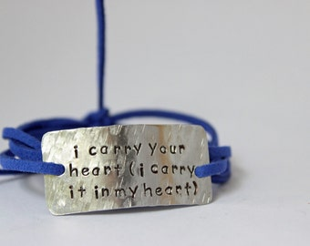 "inspirational quote bracelet, ""I carry your heart (I carry it in my heart)"", mother's day, gift for mom, wrap bracelet, gift idea"
