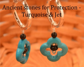 Turquoise, Jet, and Sterling Silver bead Earrings, on Sterling Silver Hoops