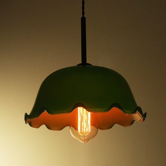Old Shanghai Jade Floral Glass Ceiling Lamp By LightwithShade