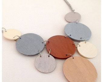 Modern geometric wooden necklace- circular in gold,silver,bronze,pearl color- modern,contemporary,minimalist hand made jewelry- eco friendly