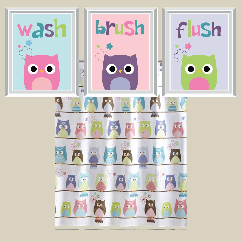 Bathroom Decor Owls: Owl Bathroom Art Print Owl Bath Art Owl Bath Decor Child