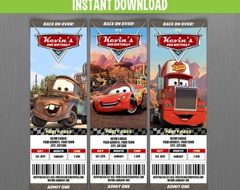 Disney Cars Birthday Ticket Invitations - Instant Download and Edit with Adobe Reader