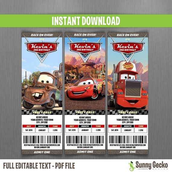 Ticket Invitaciones de Cumpleaños de Disney Cars Descarga