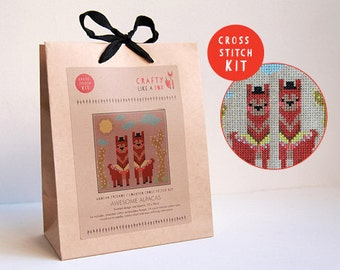 Alpaca modern cross stitch kit - includes chart and instruction booklet, all embroidery floss, natural aida, and needle