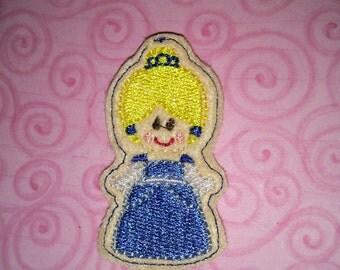 Set of 4 Cindy Blue Shoe Princess Cutie Feltie Felt Applique Bow! Birthday Party Decoration Felties Planner Clip Cinderella Glass Slipper