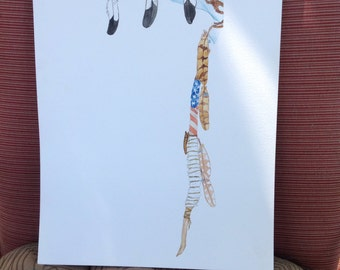 """Coup Stick, Native American Inspired Art , Watercolor Original, Feather Painting, Southwest Painting, Feathers """"Coup"""""""