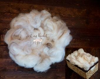 Wool Fluff Basket Stuffer Merino Prop Baby Newborn Soft - Shades of Cafe