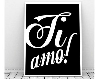 Ti Amo Italian Words, Love Quote, Instant Download Art, Love Art, Couples Art, Romantic Art, , Printable Words, Wall Decor, I Love You