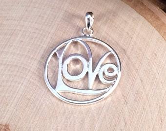 Love Charm, Love Pendant, Silver Love Charm, Silver Love Pendant, Openwork Love Charm, Valentine's Charm