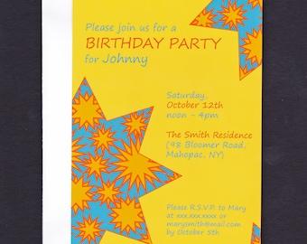 15 Birthday Party invitations: stars (4 x 6 inches)