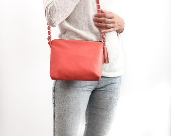 FREE SHIPPING Genuine leather cross body coral bag with tassel / coral purse