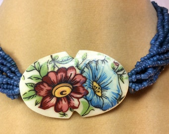 Bone Necklace, Hand Painted, Rose and Blue Colored Flowers,