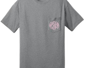 Monogrammed Pocket T Shirt--Unisex fit Small-6x Pocket tee shirt--Womens Embroidered Monogrammed--Football shirt