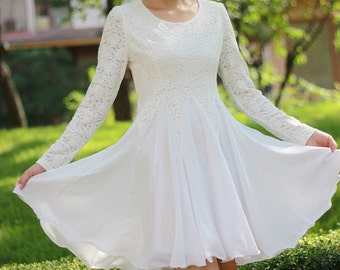 Lace dress, Long Sleeved lace dress,White Lace dress, Little White Dress,White Fit and Flare Dress