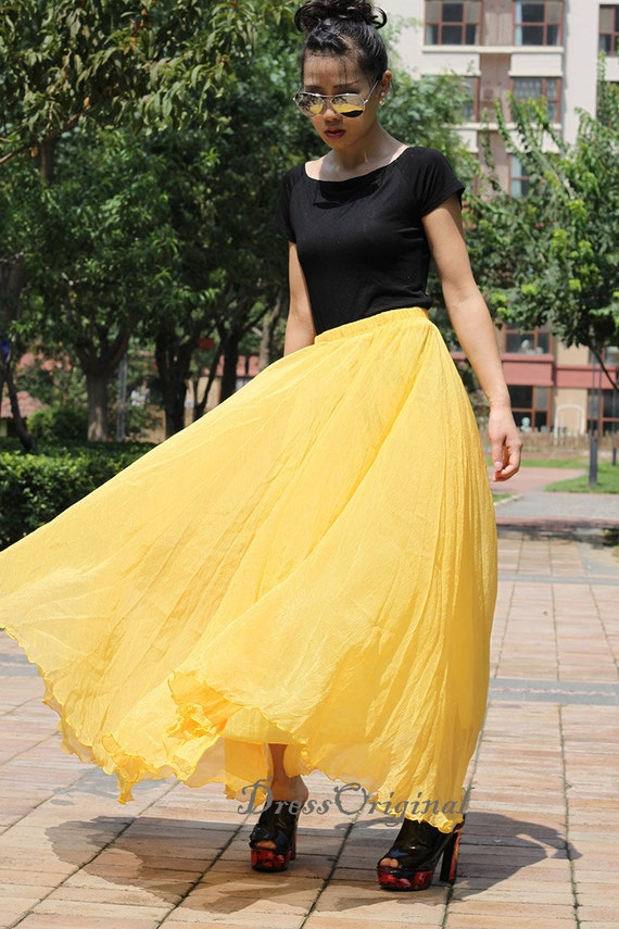 Yellow Chiffon skirt Maxi Skirt Long Skirt Maxi Dress Silk