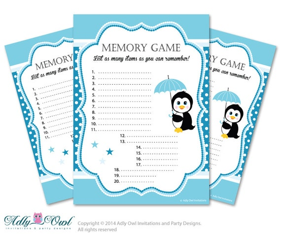 memory game for baby shower printable card for baby penguin shower