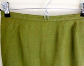 "VINTAGE Green Linen ""Lord & Taylor"" Pencil Skirt"