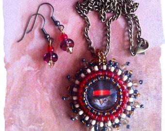 "Steampunk cat ""Sir Dave"" pendant & earrings"