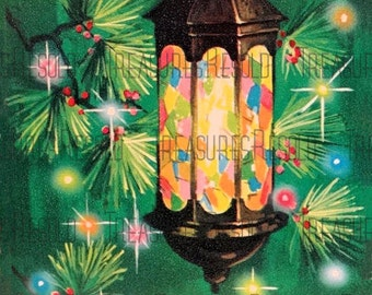 Retro Stained Glass Lantern Christmas Card #127  Digital Download