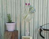 Macrame Plant Hanging: Magenta / Lilac beads & Natural Rope - Perfect for indoor or outdoor use or makes a wonderful gift!