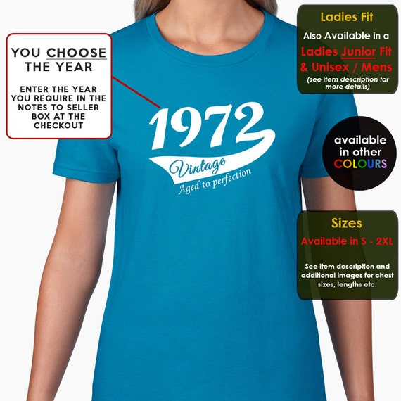 You Choose The Year,  Ladies T-shirt. More colors available. Sizes S-2XL. Unisex T-shirt also available