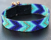 Blue and Copper Chevron Bead Loom Cuff Bracelet - Native American Style Beaded Jewelry - Boho -Tribal -Turquoise -Beadweaving - Southwestern