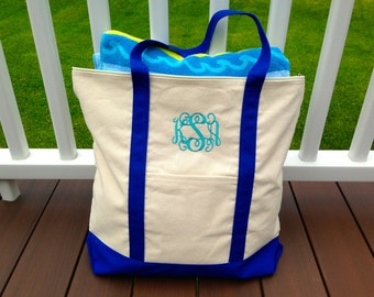 Monogrammed Boat Tote, Monogram Beach Bag, Carry On Bag, Tote Bag, Preppy Tote Bag, Personalized Tote Bag, Bridesmaid Gift, Wedding Gift