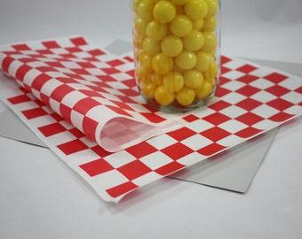 100 - Red and White Checkered Deli Wrap Paper - deli paper - basket liner - picnic supplies - barbecue supplies - checker paper - red check