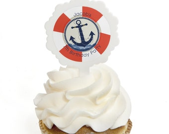 Ahoy Nautical Cupcake Picks - Cupcake Decoration Kit for a Baby Shower or Birthday Party - Set of 12
