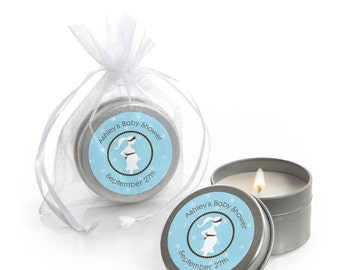 Mommy Silhouette It's A Boy Candle Tin Baby Shower Favors - Custom Baby Shower Party Favors - 12 Count