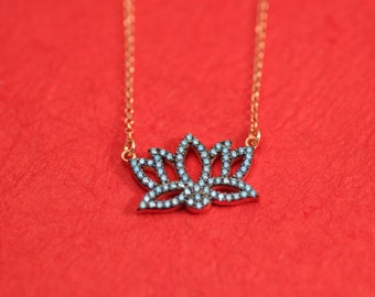 Lotus silver necklace with coloured cubic zirgonians.