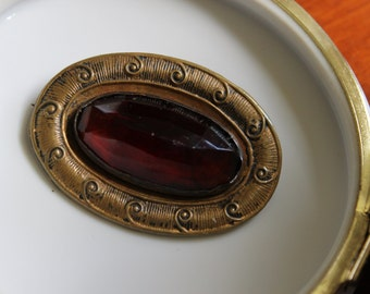 VIctorian/ Art Nouveau Brass Pin with Faceted Amber Glass Stone