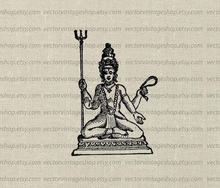 Shiva Destroyer Vector Graphic Instant Download Siva Hindu