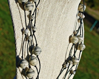 Newspaper Paper Bead Necklace