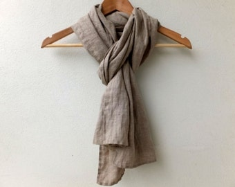 small pure linen scarf for women and men