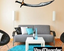 Medieval Weapon Sword Wall Decal - Wall Fabric - Vinyl Decal - Removable and Reusable - MedievalWeaponUScolor002ET