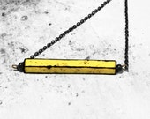 Minimal geometric necklace for her - yellow black handmade unique pendant with urban dirty look - gift accessories for girl / woman SALE